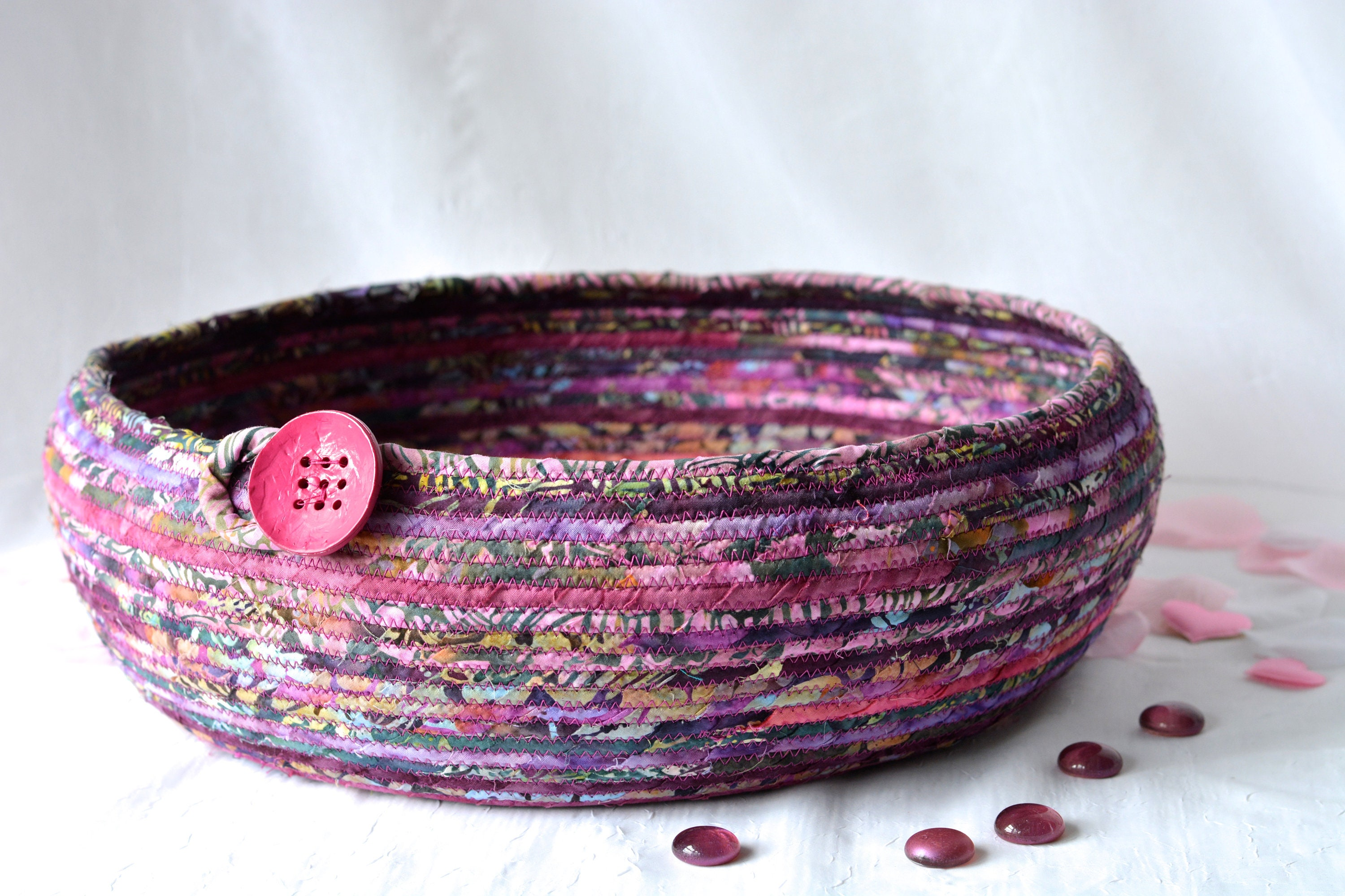 Mauve Fiber Art Basket Handmade Rope Bowl Farmhouse Batik