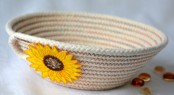 Sunflower Rope Bowl, Handmade Minimalist Basket, Fall Cord Basket, Natural Line Candy Dish, Farmhouse Chic Ring Dish, Desk Accessory