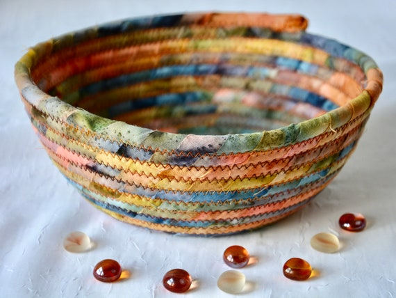 Fall Batik Basket, Handmade Rustic Bowl, Boho Fruit Bowl, Quilted Cotton Basket, Boho Chic Fabric Bowl, Key Change Bowl