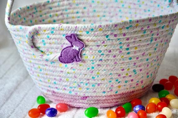 Girl Easter Basket, Cute Baby Easter Bucket, Easter Egg Hunt Bag, Spring Decoration, Pastel Dot Basket, Handmade Baby Girl First Basket