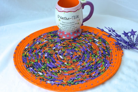"Halloween Place Mat, Fall Orange Decoration, 1 Handmade Halloween Trivet, 12""  Place Mat, Cute Purple and Orange Table Mat, Hot Pad"