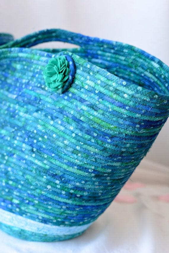 Blue Beach Bag, Handmade Batik Fabric Basket, Lovely Picnic Basket, Teal Laptop Case, Wine Carrier, Shawl Hat Holder, Blanket Bin
