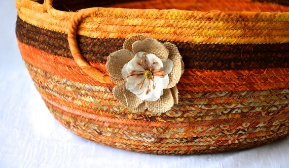 Fall Decor Basket, Thanksgiving Harvest Basket, Handmade Textile Art Basket, Coiled Rope Basket with handle, Fabric Bin, Country Chic Basket