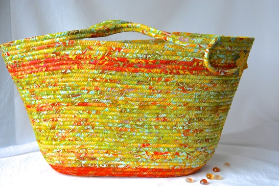 Batik Tote Bag, Handmade Moses Basket, Lovely Fall Handbag, Laptop Purse Case, Burnt Orange Rope Basket, Clothesline Project Bag