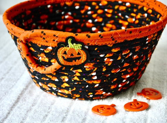 Halloween Candy Bowl, Candy Corn Key Holder, Fun Pumpkin Basket, Handmade Fall Napkin Basket, Hand Coiled Fabric Basket, Fruit Bowl