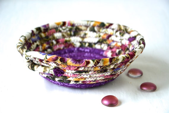Violet Home Decor, Candy Dish, Handmade Purple Basket, Fabric Quilted Basket, Pansy Floral Ring Bowl, Purple and Pink Bowl Home Decor