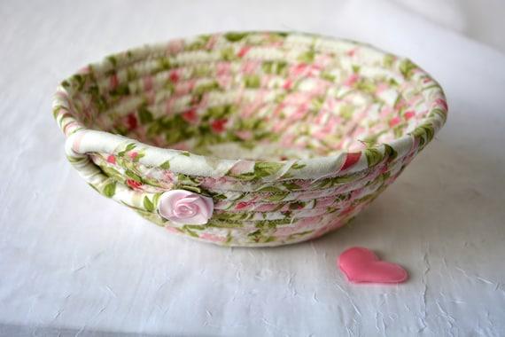 Pretty Garden Basket, Handmade Pink Candy Bowl, Bathroom Ring Dish, English Garden Basket, Party Favor, Girlfriend Gift