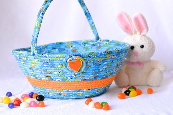 Boy Easter Basket, Handmade Baby First Easter Basket, Cute Easter Toy Bucket Bin, Easter Decoration, Blue Rope Coiled Basket