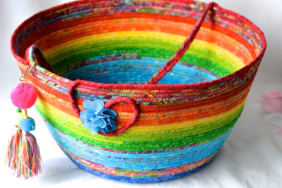 Handmade Rainbow Basket, Gorgeous Batik Basket, Magazine Rack, Gift Basket, Stuffed Animal Bin,  Beautiful Bolga Knitting Basket