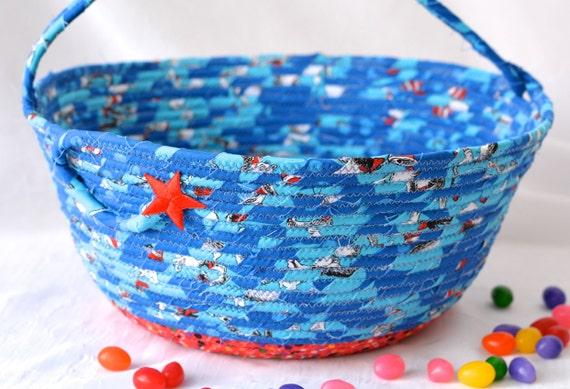 Boy Easter Basket, Handmade Easter Bucket, Baby Boy First Basket, Boy Easter Egg Hunt Bucket, Blue Coiled Fabric Basket, Artisan Quilted