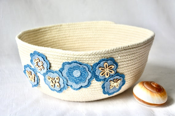 Denim Floral Basket, Handmade Rope Bowl, Country Clothesline Basket,   Cute hand coiled basket