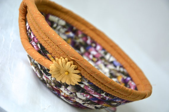 Mustard Home Decor, Candy Dish, Handmade Fabric Quilted Basket, Pansy Floral Ring Bowl, Purple and Pink Bowl Home Decor