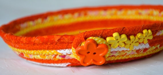 Fun Orange Key Bowl, Handmade Candy Dish, Cute Orange and Yellow Home Decor, Change Coin Holder, Wallet Basket, Quilted Fabric Basket