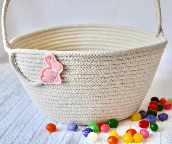 Girl Easter Bucket, Handmade Pink Easter Basket, Beige Easter Egg Hunt Bag, Spring Decoration, Unique Baby Girl Toy Basket, Free Name Tag
