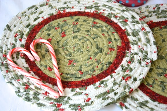 Christmas Place Mats, 2 Handmade Holly Trivets, Holiday Potholders, Table Runners, Quilted Hot Pads, Table Topper Decoration