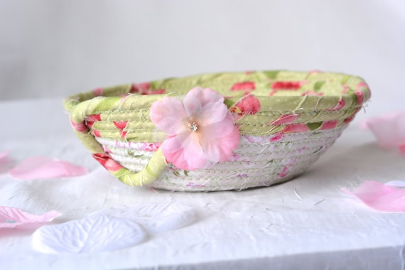 Bachelorette Party Favor Gift, Shabby Chic Bowl, Handmade Artisan Quilted Basket, Key Holder bowl, Paperclip Holder, Coiled Basket