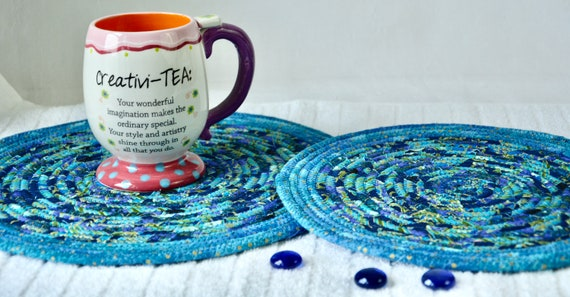 Blue Place Mats, 2 Handmade Azure Trivet, Quilted Hot pads, Pretty Blue Table Toppers,  Table Runners, Coiled Potholders
