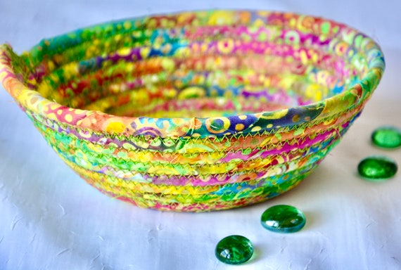 Boho Candy Dish, 1 Handmade Rainbow Batik Bowl, Lime Green Dish, Quilted Cotton Basket, Boho Chic Fabric Basket, Key Change Bowl