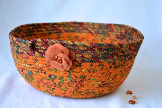Festive Fall Basket, Handmade Fabric Bowl, Burnt Orange Gift Basket, Autumn Napkin Holder, Fall Fruit Bowl, Terra Cotta Decoration
