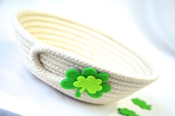 St. Patrick's Day Candy Bowl, Minimalist Potpourri Bowl, Handmade Key Basket, Clothesline Rope Basket, Ring Dish, Desk Accessory