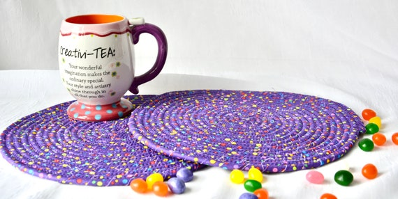 Purple Place Mats, 2 Fun Spring Trivets, Quilted Hot Pads, Purple Dot Mug Rugs, Potholders, Modern Table Toppers, Table Runner