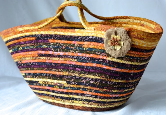 Farmhouse Home Decor, Handmade Batik Fabric Basket, Laptop Purse Case, Tote Bag, Handbag, Purse, Unique  OOAK, Shower Gift Basket