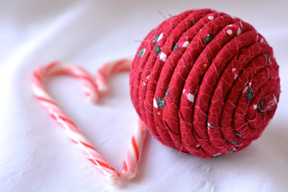 Red Christmas Ornament, Handmade Red Holiday Decoration, Ball Bowl Filler, Hand Coiled Fiber Christmas Ball,  Holiday Home Decor