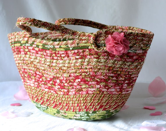 Fall Purse Tote, Handmade Fiber Art Purse, Lovely Picnic Tote Bag, Laptop Case, Unique Gift Basket, Coiled Moses Basket