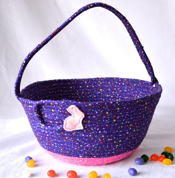 Girl Easter Basket, Handmade Easter Bucket, Spring Easter Decor, Purple Easter Decoration, Baby First Violet Easter Bucket