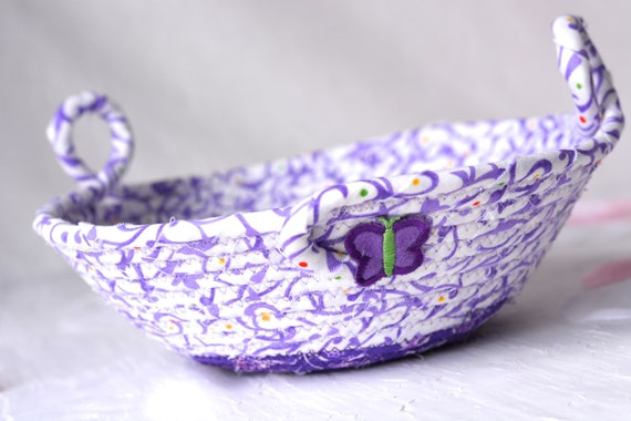 Lovely Lavender Basket, Handmade Purple Coiled Bowl, Cute Ring Dish, Hair Tie Holder, Ultra Violet Artisan Quilted Bowl