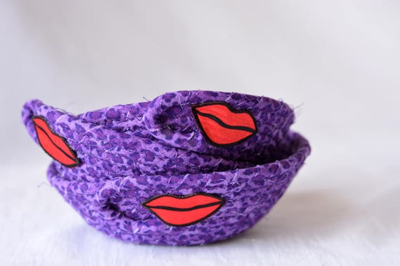 Fun Party Favors, 3 Cute Key Holder Baskets, 3 Modern Purple Candy Bowls, Desk Accessory, Ring Bling Dishes, Girl  Gifts