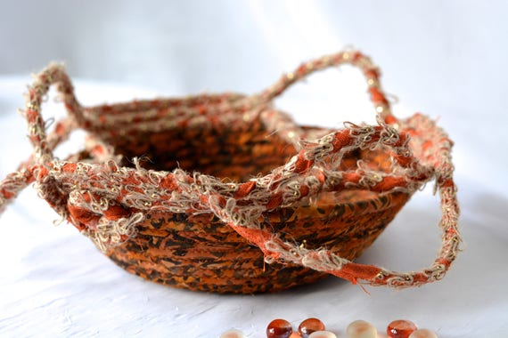 Textile Art Bowl, Country Tan Candy Dish, Rustic Desk Accessory, Paperclip Holder, Handmade Ring Dish Basket, Burlap Fiber Basket