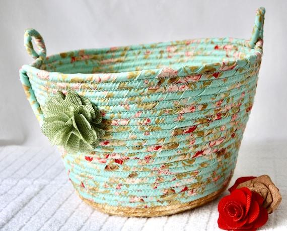 Green Waste Basket, Handmade Handled Basket, Receptacle, Paper Recycle Bin, Unique Floral Shawl Holder, Storage Organizer, Yarn Holder