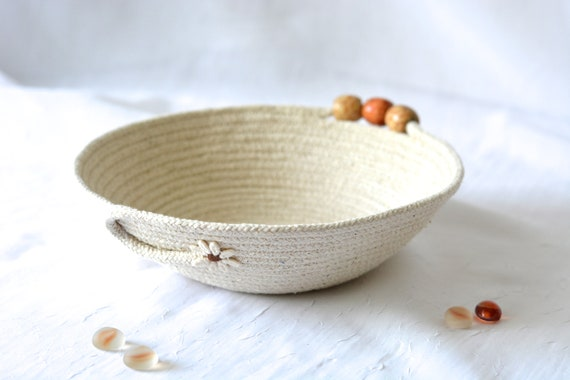 Minimalist Desk Accessory Bowl, Handmade Natural Cotton Basket, Rustic Clothesline Basket, Primitive Ring Dish,  Coiled natural rope basket