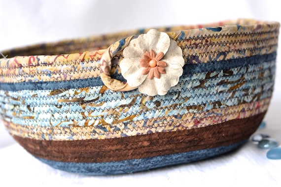 Country Home Decor Basket, Gorgeous Batik Basket, Handmade Fiber Art Bowl, Rustic Blue and Brown Bowl,  Coiled Quilted Rope Basket