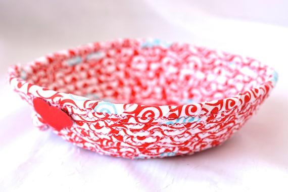 Red Ring Dish,  Red Artisan Fiber Basket, Handmade Coiled Key Holder, Bridal Shower Favor Gift, Hair Tie Clip Holder, Ring Dish
