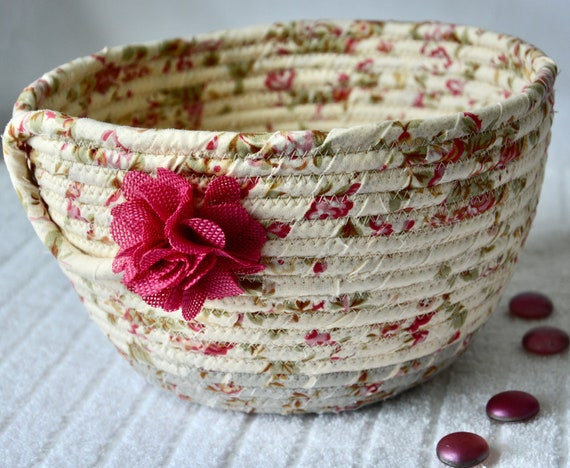 Shabby Chic Basket, Spring Floral Decoration, Pretty Fabric Basket, Handmade Key Bowl, Napkin Holder, Fruit Bowl, Remote Holder