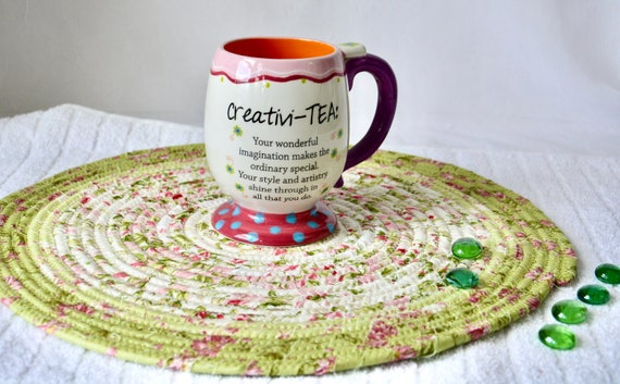 """Green Table Topper, 14"""" Handmade Garden Party Trivet, Quilted Hot Pad, Shabby Chic Place Mat,  Table Runner, Coiled Potholder"""