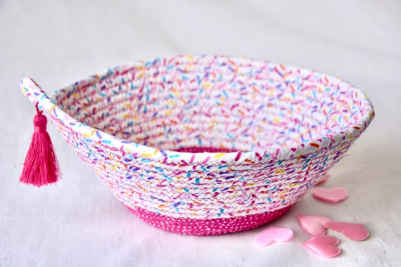 Ice Cream Party Bowl, Handmade Jimmies Basket, Fabric Quilted Bowl, Rainbow Sprinkles Dish, Cute Potpourri Dish, Pool Pary Decor