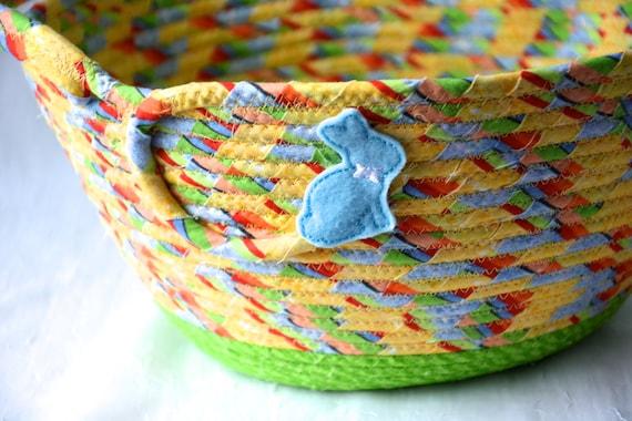 Boy Easter Basket, Handmade Yellow Easter Bucket, Easter Egg Hunt Tote Bag, Baby First Easter Basket, Handled Bunny Holder, FREE Name Tag