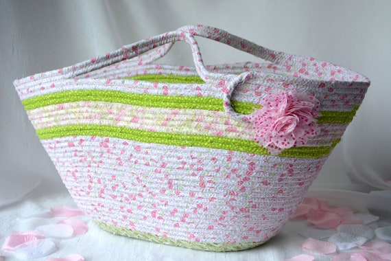 Shabby Chic Tote Bag, Handmade Quilted Basket, Decorative Pink Floral Beach Bag, Handled Picnic  Basket, Baby Shower Gift