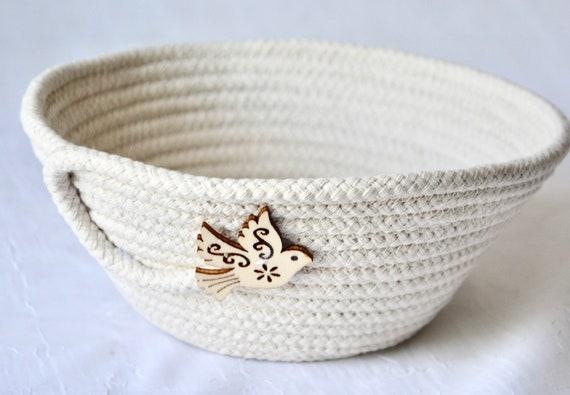 Neutrals Ring Dish, Love Dove Bowl, Potpourri Basket, Handmade Beige Basket, Country Key Dresser Tray, Farmhouse neutrals rope basket