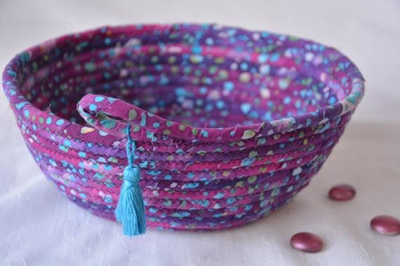 Violet Boho Basket, Handmade Bread Basket, Key Catchall, Fruit Bowl, Jewelry Catcher, Colorful Fiber Basket, Artisan Coiled Bowl
