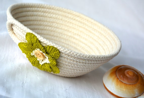Neutrals Ring Dish, Chartreuse Desk Accessory Bowl, Handmade Beige Basket, Country Key Dresser Tray, Farmhouse rope basket