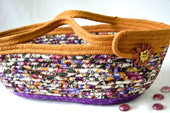 Mustard Bath Decor, Handmade Violet Basket, Pretty Floral Tote Bag, Storage Basket, Unique  Coiled Rope Basket, Clothesline Art OOAK