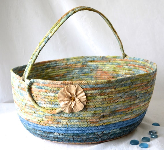 Bolga Batik Basket, Handmade Textile Art Basket, Coiled Rope Basket with handle, Country Blue Fabric Bin, Cottage Chic Basket