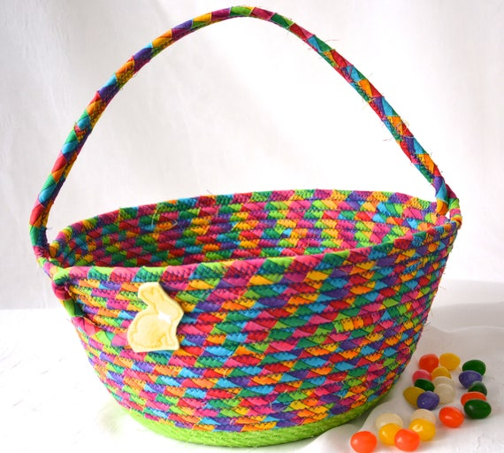 Rainbow Easter Basket, Handmade Boy Easter Basket, Easter Decoration, Easter Egg Hunt Bag, Baby First Easter Bucket