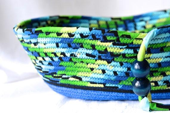 Blue Picnic Basket, Fruit Bowl, Remote Control Bin, Unique Phone Holder, Handmade Towel Bin, Bread Basket, Napkin Holder, Wallet Key Holder
