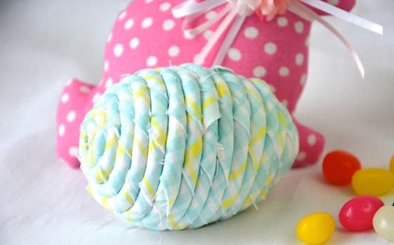 Easter Egg Ornament, Handmade Blue Easter Egg Decor, Easter Egg Hunt, Hand Coiled Fiber Easter Egg Decoration, Fun Blue Easter Egg