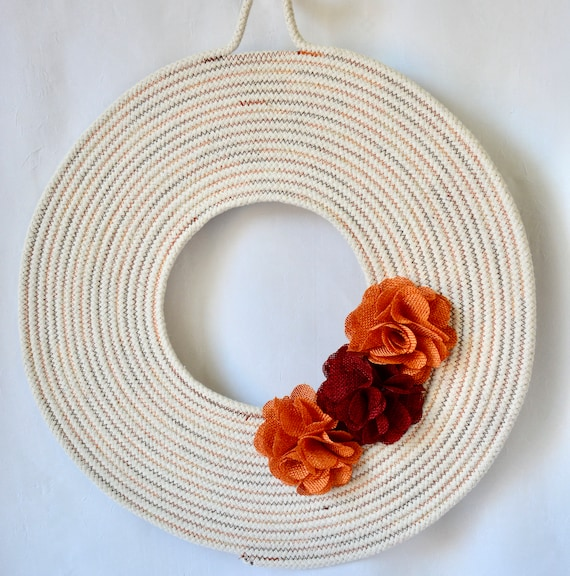Fall Rope Wreath, Autumn Door Hanger, Lovely Wall Art, Artisan Quilted Hanging, Handmade Orange Home Decor, Country Rope Wreath Art